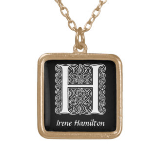 Initiale décorative de monogramme de la lettre H Pendentif Carré