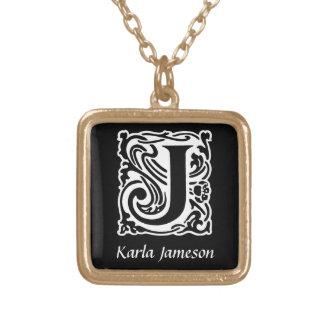 Initiale décorative de monogramme de la lettre J Pendentif Carré