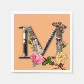 """Initiale décorative """"M"""" de lettre Serviettes En Papier"""