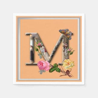 """Initiale décorative """"M"""" de lettre Serviettes Jetables"""