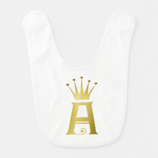 Initiale d'or un bavoir de bébé de monogramme de