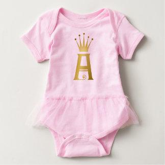 Initiale d'or un tutu de bébé de monogramme de body