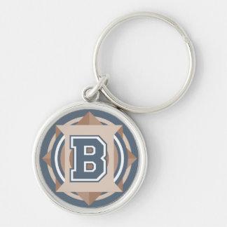 """Initiale faite sur commande de la lettre """"B"""" de Porte-clé Rond Argenté"""
