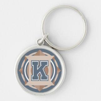 """Initiale faite sur commande de la lettre """"K"""" de Porte-clé Rond Argenté"""