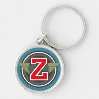 """Initiale faite sur commande de la lettre """"Z"""" de Porte-clé Rond Argenté"""