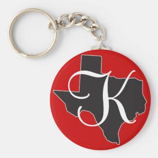 Initiale faite sur commande de monogramme du Texas Porte-clé Rond