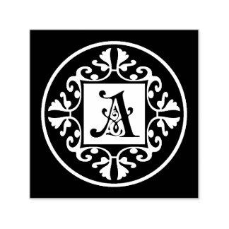 Initiale noire et blanche classique A de Tampon Auto-encreur
