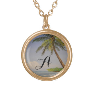 Initiale tropicale de lettre de monogramme de pendentif rond