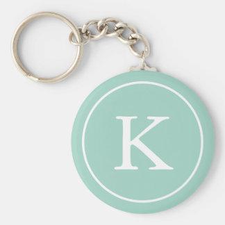 Initiale turquoise de monogramme du cercle   porte-clé rond