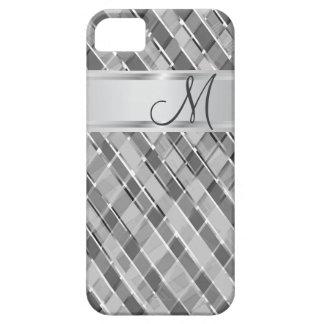 Initiale vérifiée de monogramme de gris argenté coque barely there iPhone 5