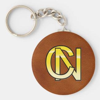 initiales  C et N en or Porte-clé Rond