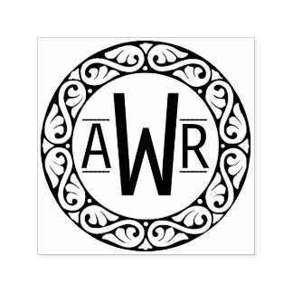 Initiales circulaires de cadre de Scrollwork Tampon Auto-encreur