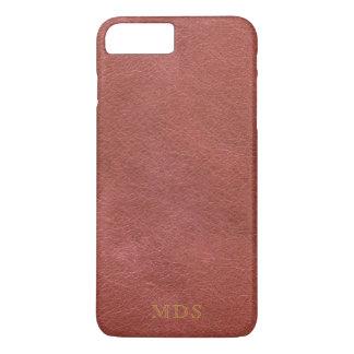 Initiales simili cuir rouge sang d'or de Faux Coque iPhone 7 Plus