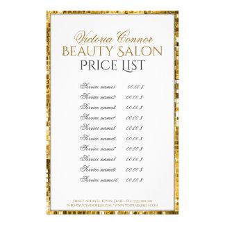 Insecte d'or de listes des prix de salon de beauté prospectus 14 cm x 21,6 cm