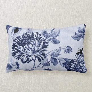 Insectes botaniques vintages Toile floral de bleu Coussin Rectangle