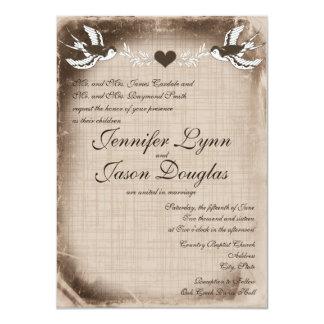 Inséparables vintages rustiques épousant des carton d'invitation  11,43 cm x 15,87 cm