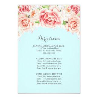 Insertion bleue florale rustique rose de direction carton d'invitation 8,89 cm x 12,70 cm