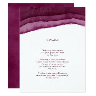Insertion/directions de mariage d'aquarelle de carton d'invitation 10,79 cm x 13,97 cm