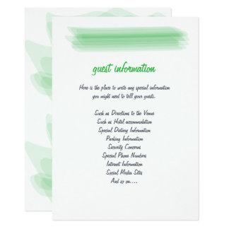 Insertion minimaliste à la mode de mariage de vert carton d'invitation  11,43 cm x 15,87 cm