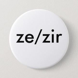 insigne de pronom de ze/zir badge rond 7,6 cm