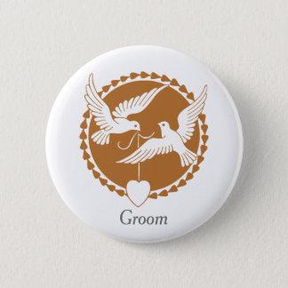 Insigne élégant de colombes d'amour pour un marié badge rond 5 cm
