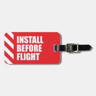 Installez avant vol étiquette pour bagages
