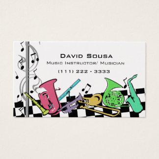 Instruments de musique colorés cartes de visite