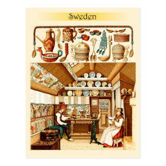 Intérieur de Chambre suédoise (meubles et batterie Carte Postale