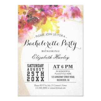 Invit floral de partie de Bachelorette d'aquarelle Carton D'invitation 12,7 Cm X 17,78 Cm