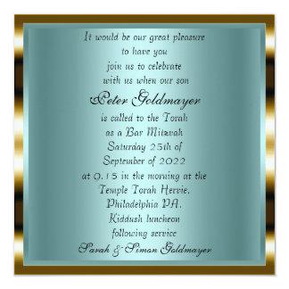 Invitation 12 de cérémonie d'or de Mitzvah de