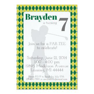 Invitation à motifs de losanges verte
