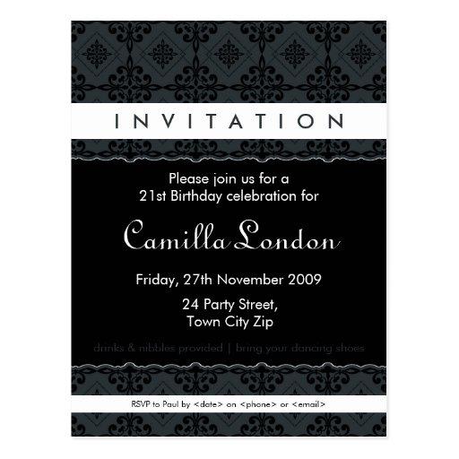invitation adulte d 39 anniversaire l3 dans un carte postale zazzle. Black Bedroom Furniture Sets. Home Design Ideas