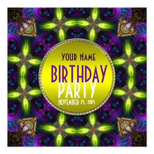 Invitation adulte de fête d'anniversaire de lueur