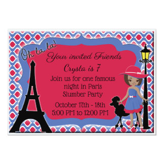 Invitation africain rose de caniche de fille