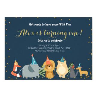 Invitation animale d'anniversaire de zoo