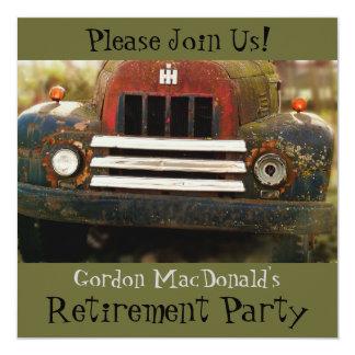 Invitation antique de partie de retraite de camion