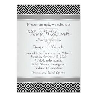 Invitation argenté de Mitzvah de barre de motif de
