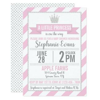 Invitation argenté rose de princesse baby shower
