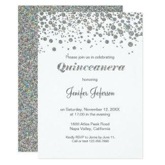 Invitation argentée de Quinceanera de confettis de