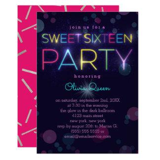 Invitation au néon rougeoyante de partie de sweet