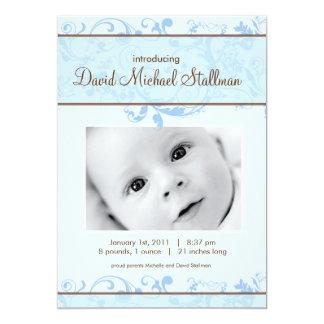 Invitation Beaux rouleaux - bébé Annoucement - bleu