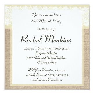 Invitation beige élégante de bat mitzvah de carton d'invitation  13,33 cm