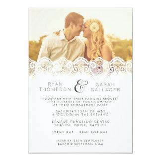 Invitation blanc de photo de mariage de