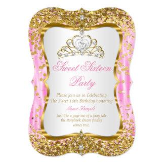 Invitation blanc d'or rose de princesse Sweet 16
