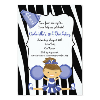 Invitation bleu d'anniversaire de pom-pom girl