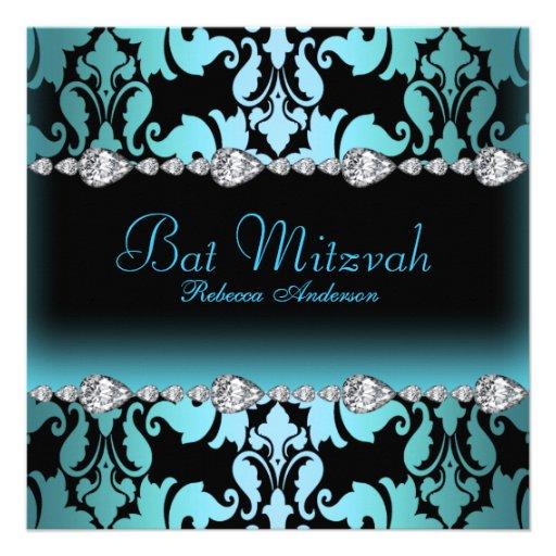Invitation bleu de bat mitzvah de damassé et d'éti