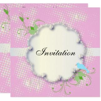 Invitation bleue assez rose de partie d'oiseau