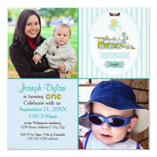Invitation bleue d'anniversaire de enfant de photo