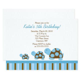 Invitation bleue d'anniversaire des tortues 5x7 de