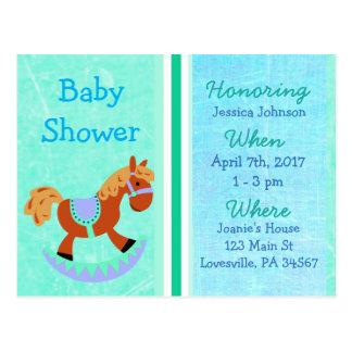Invitation bleue de baby shower de cheval de
